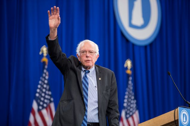 MANCHESTER, NH - SEPTEMBER 19: Democratic Presidential candidate Senator Bernie Sanders (I-VT) waves while leaving stage during the New Hampshire Democratic Party State Convention on September 19, 2015 in Manchester, New Hampshire. Five Democratic presidential candidates are all expected to address the crowd inside the Verizon Wireless Arena. (Photo by Scott Eisen/Getty Images)