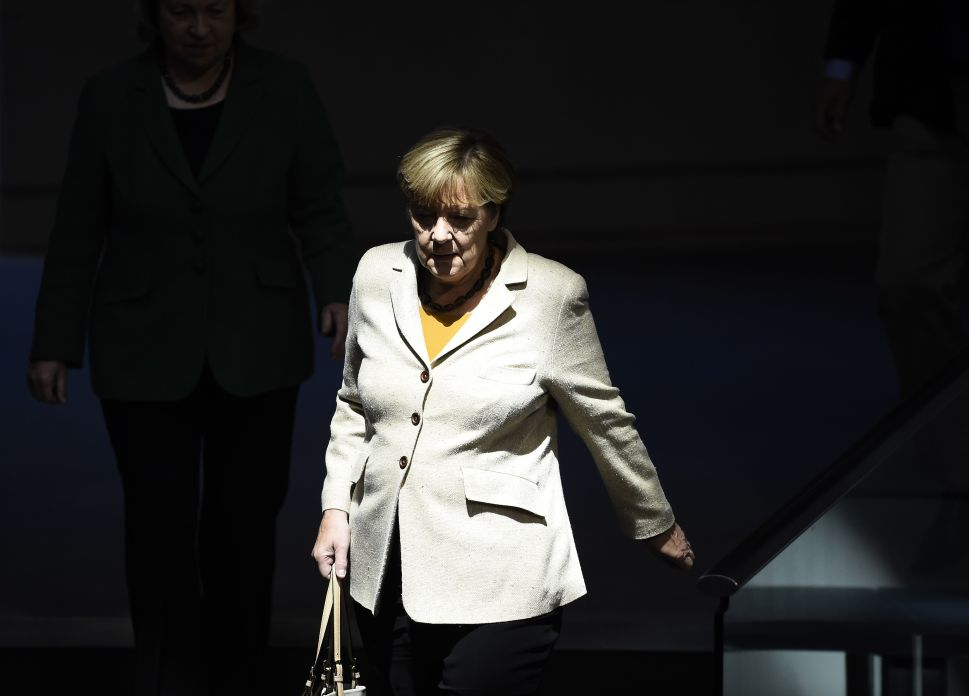 German Chancellor Angela Merkel arrives for a session of the German lower house of parliament (Bundestag) in Berlin, October 1, 2015. AFP PHOTO / TOBIAS SCHWARZ (Photo credit should read TOBIAS SCHWARZ/AFP/Getty Images)