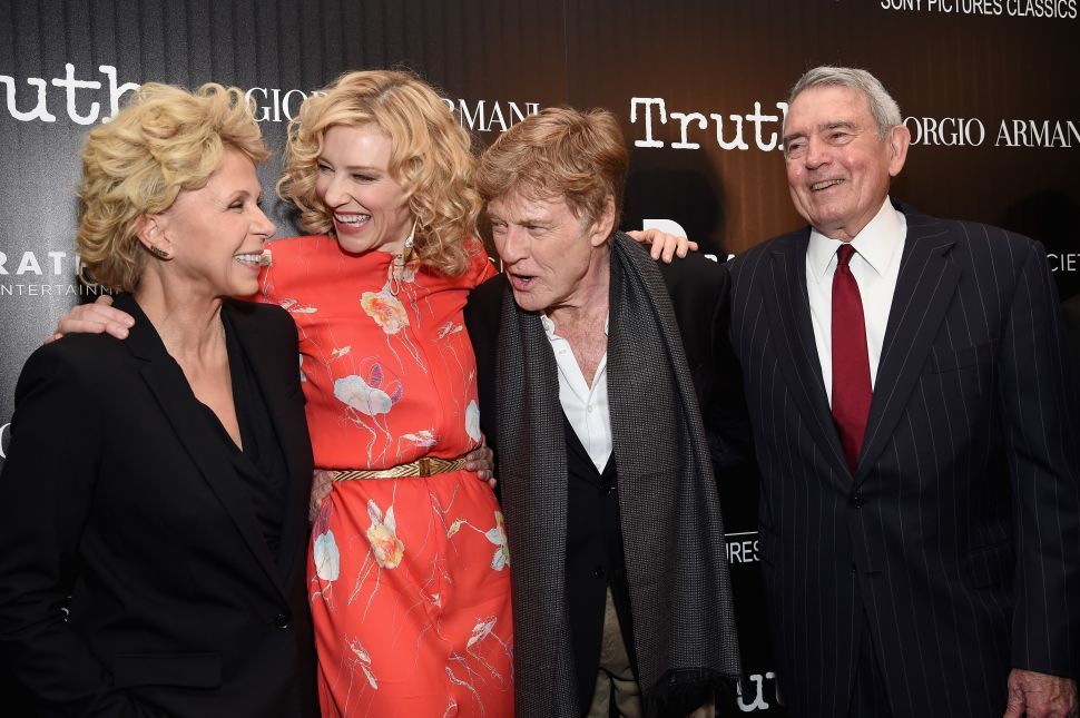Mary Mapes, Cate Blanchett, Robert Redford, Dan Rather (Photo; Dimitrios Kambouris for Getty Images)