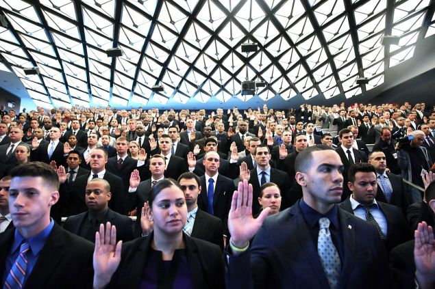 Mr. Platt covered a swearing-in ceremony of police in Queens. (Photo: Spencer Platt/Getty Images)