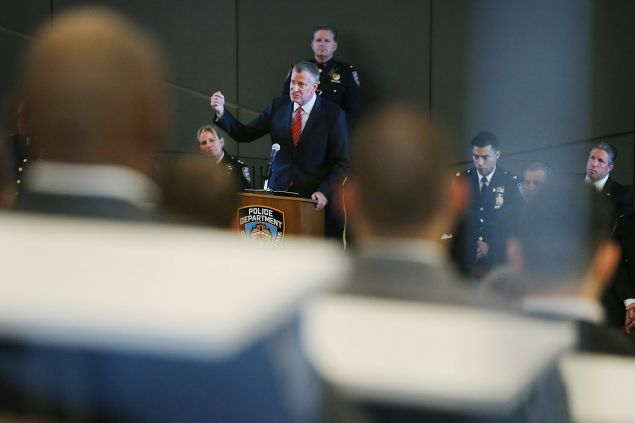 Mayor Bill de Blasio today. (Photo by Spencer Platt/Getty Images)