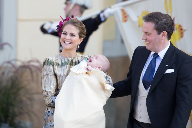Princess Madeleine of Sweden and Christopher O'Neill with baby Prince Nicolas. (Photo: Luca Teuchmann/Getty Images)