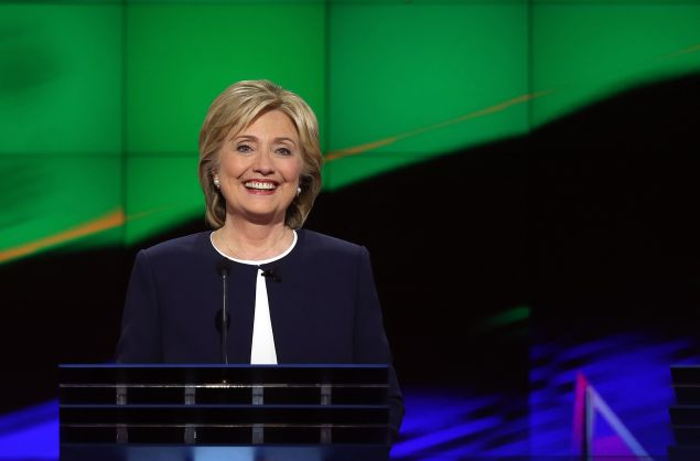 takes part in a presidential debate sponsored by CNN and Facebook at Wynn Las Vegas on October 13, 2015 in Las Vegas, Nevada. Five Democratic presidential candidates are participating in the party's first presidential debate.