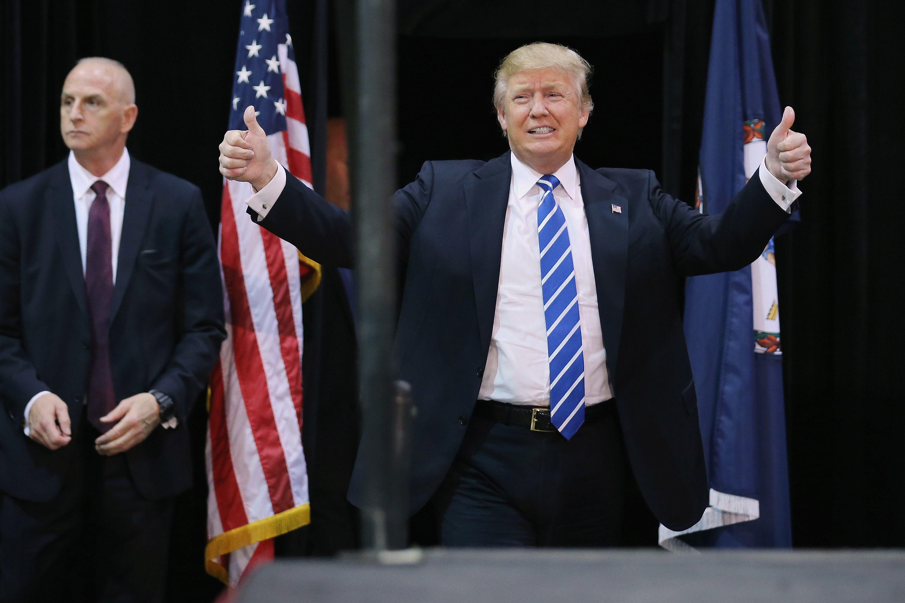 Republican presidential candidate and front-runner Donald Trump arrives at a campaign rally at the Richmond International Raceway October 14, 2015 in Richmond, Virginia. (Photo by Chip Somodevilla/Getty Images)