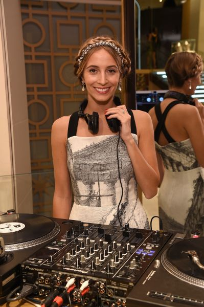 Even DJ Harley Viera-Newton layered on the bling, with a Bulgari Diva necklace worn as a crown and paired with gold and diamond earrings (Photo: Bryan Bedder/Getty Images for Bulgari).