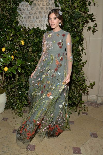 Alexa Chung in Valentino (Photo: Mike Coppola/Getty Images for Bulgari).
