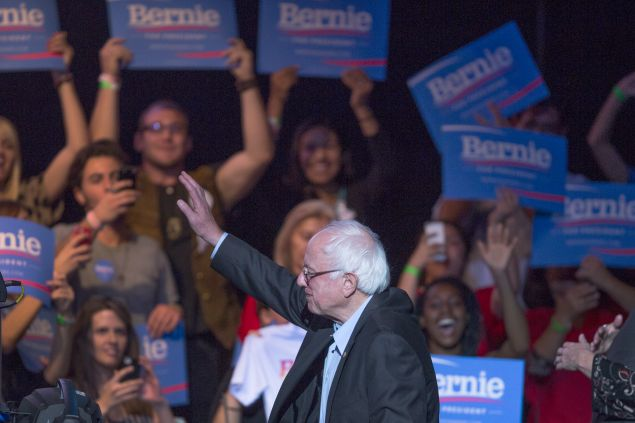 LOS ANGELES, CA - OCTOBER 14: Democratic presidential candidate U.S. Sen. Bernie Sanders waves to supporters at a campaign fundraising reception at the Avalon Hollywood nightclub on October 14, 2015 in the Hollywood section of Los Angeles, California. The fundraiser takes place on the day following the first Democratic presidential debate of the race, where Sanders faced off with frontrunner, Hillary Rodham Clinton, and three other candidates. (Photo by David McNew/Getty Images)