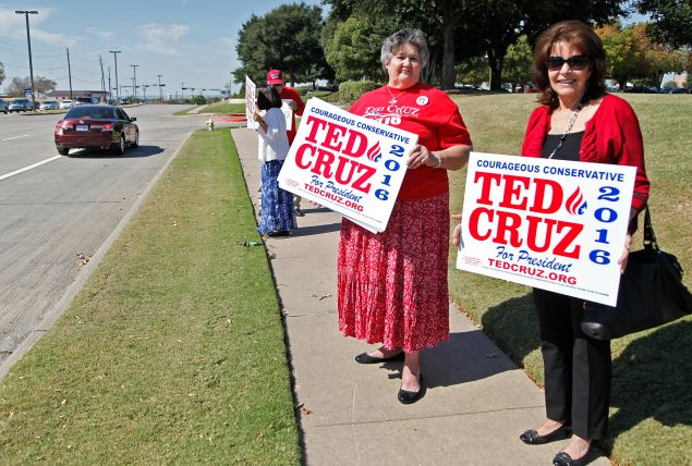 PLANO, TX - OCTOBER 18: Suzanne Blackstone (R) of Plano, Texas and Maggie Wright of Burleson, Texas, hold signs showing their support for Ted Cruz outside of the venue where candidates will participate in the North Texas Presidential Forum at the Prestonwood Baptist Church in October 18, 2015 in Plano, Texas. Republican Presidential candidates were invited to address the audience for 10 minutes, followed by a 10 minute discussion with Dr. Jack Graham, pastor of Prestonwood Baptist Church. (Photo by Stewart F. House/Getty Images)