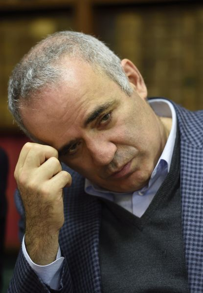 Russian chess legend and opposition activist Garry Kasparov holds a press conference in support of Kazakh tycoon and opposition figure Mukhtar Ablyazov on October 20, 2015 in Paris. The French government has given the green light for the extradition of Mukhtar Ablyazov to Russia, where he is accused of embezzling billions of dollars, as a lawyer for Ablyazov says his client would challenge the decision. AFP PHOTO / ERIC FEFERBERG (Photo credit should read ERIC FEFERBERG/AFP/Getty Images)