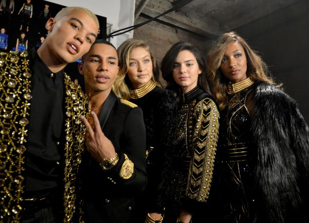 Olivier Rousteing and his a-list model crew (Photo: Getty Images).