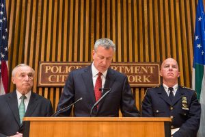 Commissioner Bill Bratton, Mayor Bill de Blasio, and NYPD Chief of Department James O'Neill today. (Photo by Andrew Burton/Getty Images)