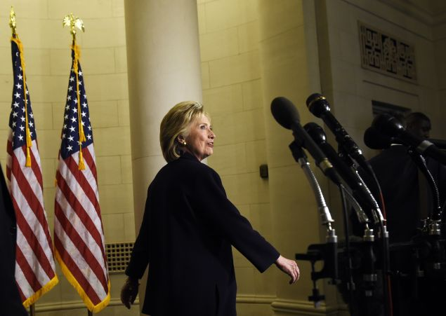 Former Secretary of State and Democratic Presidential hopeful Hillary Clinton leaves after she testified before the House Select Committee on Benghazi on Capitol Hill in Washington, DC, October 22, 2015. Clinton took the stand to defend her role in responding to deadly attacks on the US mission in Libya, as Republicans forged ahead with an inquiry criticized as partisan anti-Clinton propaganda. AFP PHOTO/ SAUL LOEB (Photo credit should read SAUL LOEB/AFP/Getty Images)