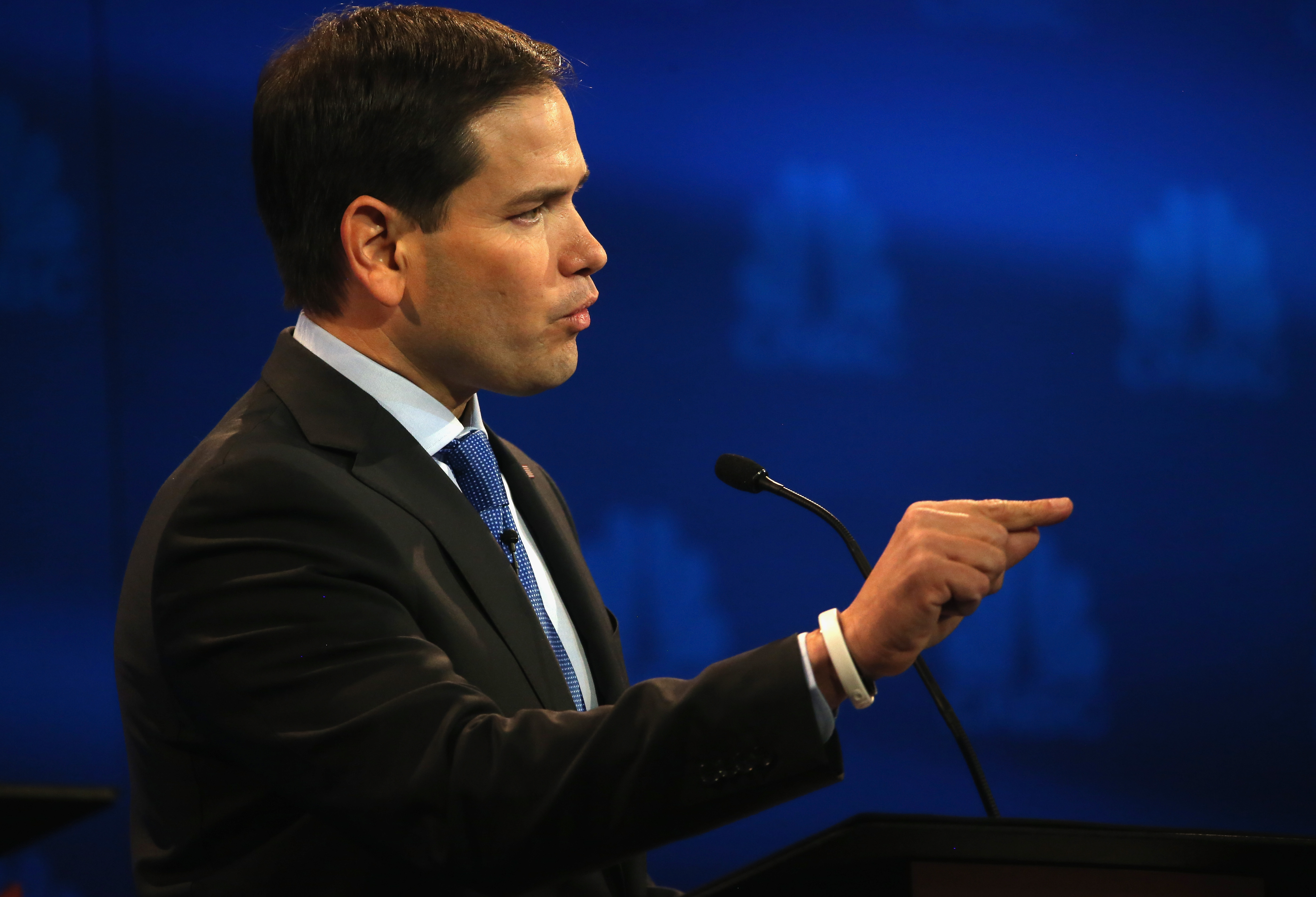 Florida Senator Marco Rubio  speaks during the CNBC Republican Presidential Debate. (Photo: Justin Sullivan/Getty Images)