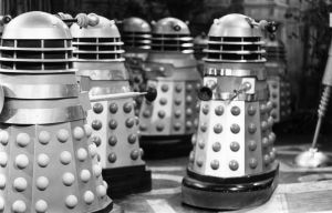The Daleks run riot in the British science fiction television series 'Doctor Who', 28th September 1964. (Photo by Ronald Dumont/Express/Hulton Archive/Getty Images)