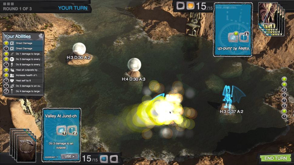 Deckbound Heroes is a classic style board control game run with digital playing cards, reminiscent of the card game Magic: The Gathering. (Image: Deckbound)