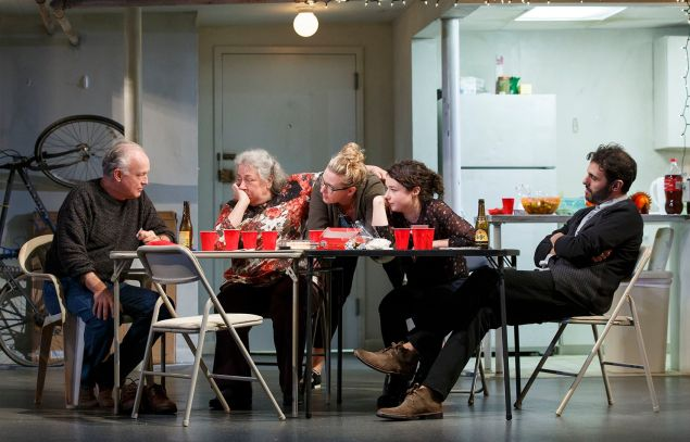 Left to right: reed Birney, Jayne Houdyshell, Cassie Beck, Sarah Steele and Arian Moayed in The Humans. (Photo: Joan Marcus)