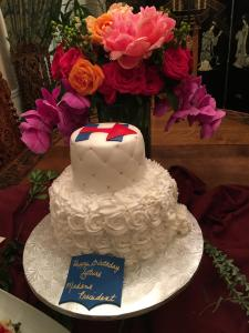 The event ended with a birthday cake for the Democratic candidate for president.