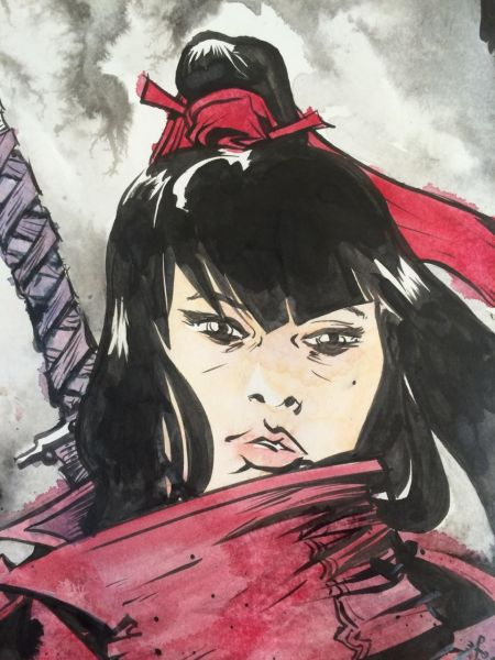 Handmade drawing of Katana Girl. Drawing: Paul Pope)