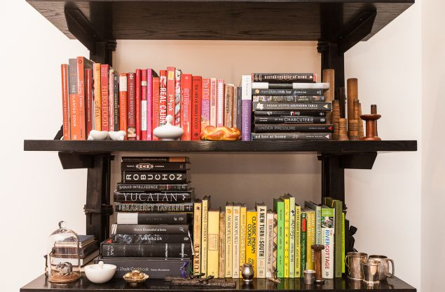 Color-coded books. (Photo: Emily Assiran for Observer)