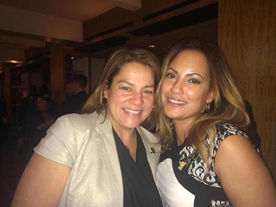 Assemblywoman Angelica Jimenez (D-32) (left) and SEIU State Political Director Julie Diaz.