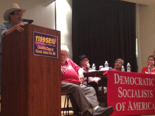 Jim Hightower addresses the Democratic Socialists of America at 1199 SEIU headquarters (Photo: Will Bredderman for Observer).