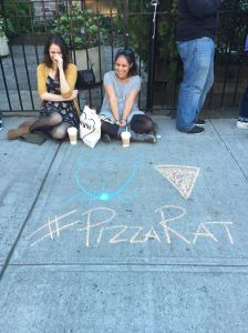 While waiting in line, Solange Castellar drew New York's own Pizza Rat. (Photo: Amanda Manning)
