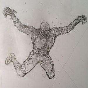 Pencil sketch of El Vengador, the modern day superhero. Drawing: Paul Pope