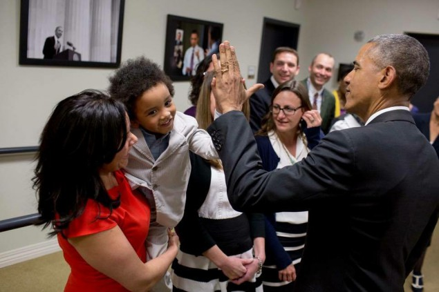 Mejia and her son, Langston, meet President Obama in April.