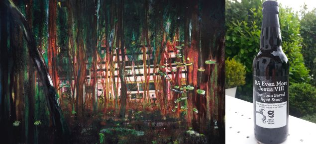Peter Doig's Cabin Essence and Siren's BA Even More Jesus VIII Bourbon Barrel Aged Stout