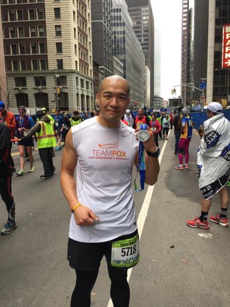 Mr. Choi after the 2015 New York Half-Marathon. (Photo: Courtesy of Michael J. Fox Foundation)