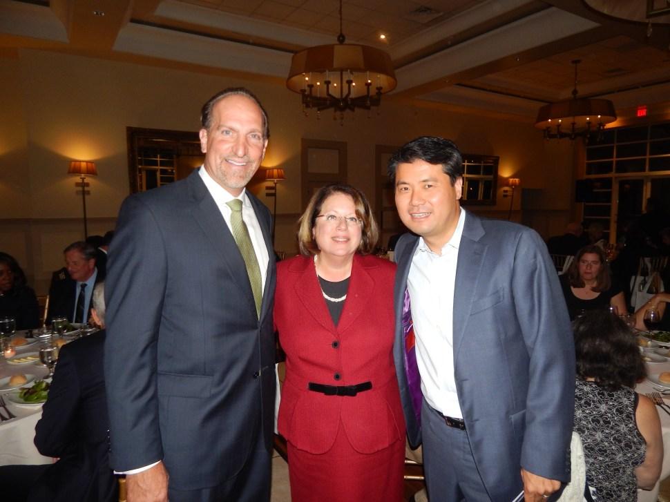 Zenon Christodoulou, state Senator Linda Greenstein (D-14), and former Edison Mayor Jun Choi.