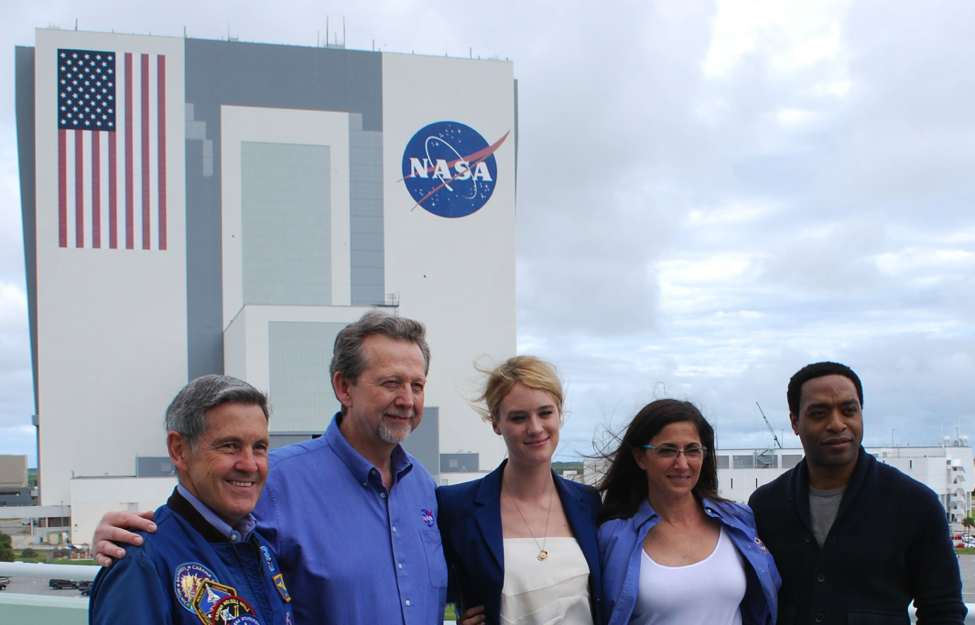 Director Bob Cabana, Planetary Science Director Jim Green, The Martian actress Mackenzie Davis, Astronaut Nicole Stott, and The Martian Actor Chiwetel Ejiofor at Kennedy Space Center. Photo: Robin Seemangal