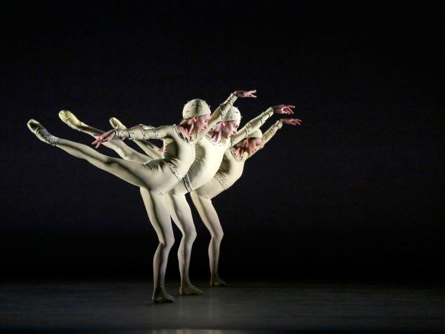 Isabella Boylston, Joseph Gorak and Stella Abrera in Monotones I. (Photo: Marty Sohl)