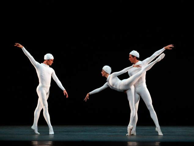 Cory Stearns, Veronika Part and Thomas Forster in Frederick Ashton's Monotones II. (Photo: Marty Sohl)