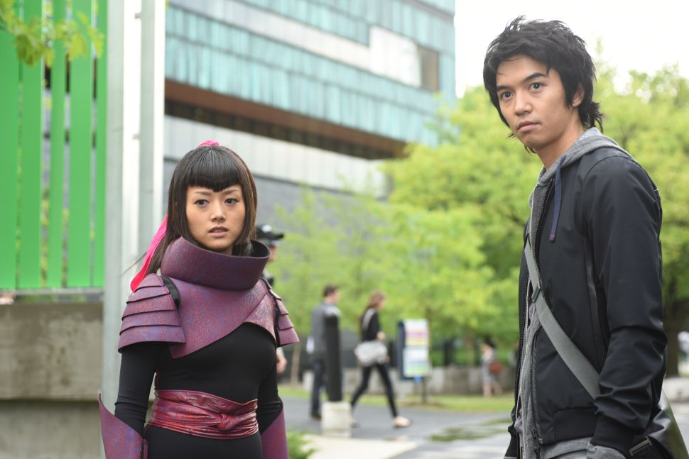 Kiki Sukezane as Miko Otomo, Toru Uchikado as Ren Shimosawa, outside of Renautas with a load of cosplayers (Photo: John Medland/NBC)
