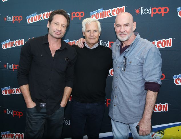 THE X-FILES: THE X-FILES Cast Member David Duchovny, Creator/Executive Producer Chris Carter and Cast Member Mitch Pileggi in the press room during FOX FANFARE 2015 at New York Comic Con on Saturday, Oct. 10 at Javits Center in New York, NY. CR: Ben Hider/FOX