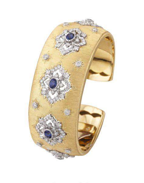 Buccellati Opera Cuff Bracelet, 18K Yellow and White Gold, Diamonds, Sapphires, $63,000, Buccellati.com