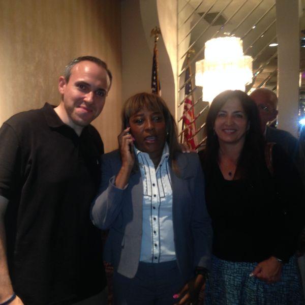Pam Harris with Councilman Mark Treyger and State Senator Diane Savino. (Photo: Will Bredderman for Observer)