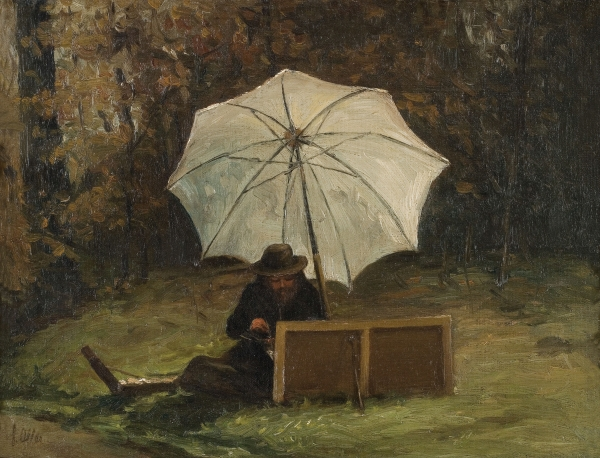 Paul Cezanne Painting Out of Doors, circa 1864.