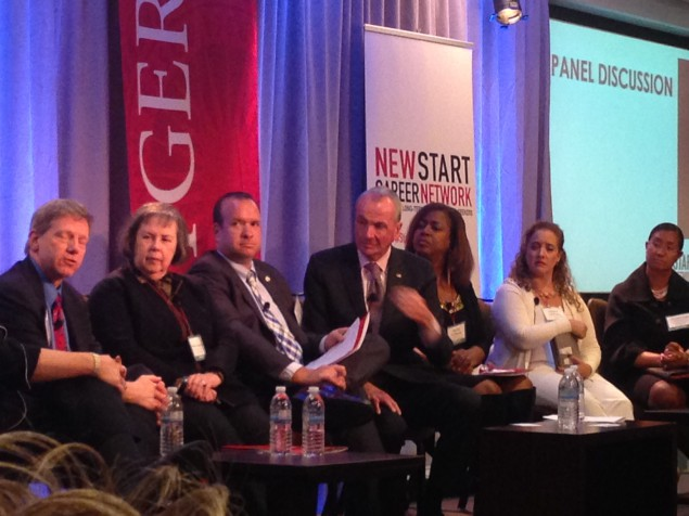 Murphy (center) sits on the New Career Network panel.