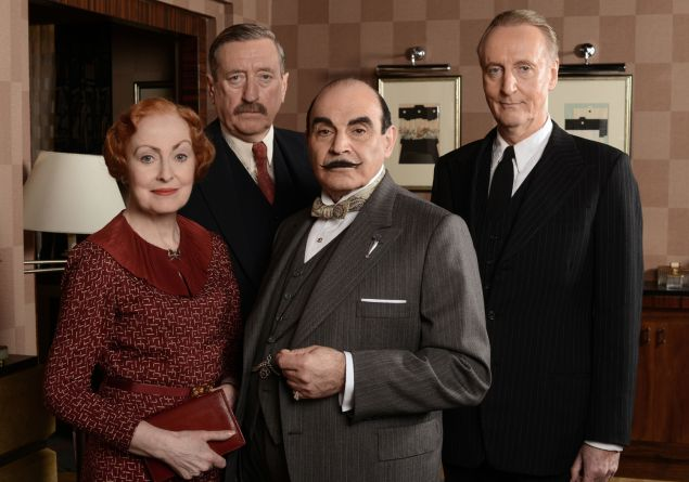 """""""The Big Four"""" Sunday, July 27, 2014 at 9-10:30pm ET on PBS Adapted by Mark Gatiss (Sherlock), """"The Big Four"""" plunges Poirot into a world of global espionage, set against the backdrop of the impending WWII. The public is in a panic after the shocking death of a Russian chess grandmaster. With the help of old friends Captain Hastings, Inspector Japp and Miss Lemon, Poirot must navigate international figures and intrigue to identify the culprit. Shown from left to right: Pauline Moran as Miss Lemon, Philip Jackson as Inspector Japp, David Suchet as Poirot, and Hugh Fraser as Captain Hastings (C) ITV Studios for MASTERPIECE This image may be used only in the direct promotion of MASTERPIECE. No other rights are granted. All rights are reserved. Editorial use only. PHOTO: Courtesy PBS"""