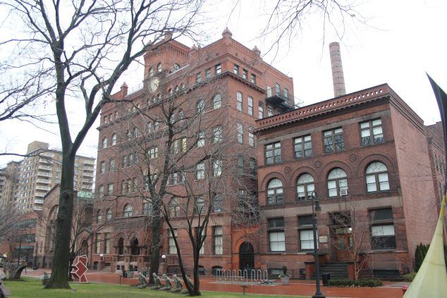 Pratt Institute's South Hall building (right), Brooklyn, NY. Completed 1891. (Photo: Courtesy of Peter Greenberg)