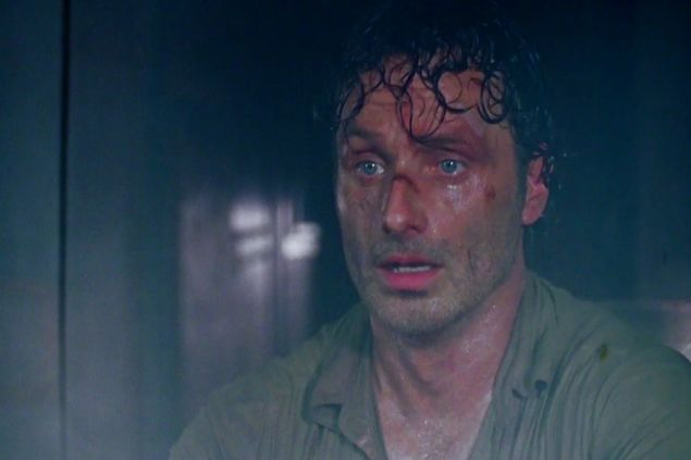 Rick Grimes, learning about *spoiler alert!*'s death on The Walking Dead. (AMC)
