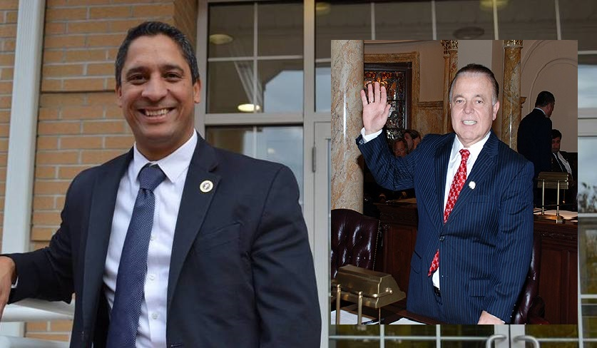"""Essex County Freeholder Rolando Bobadilla, left, backed the unanimous resolution last night in a packed Essex County Hall of Records, but state Senator Joe Pennacchio (R-26) (inset) says the senate bill is """"putting the cart before the horse."""""""