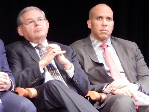 U.S. Senators Bob Menendez (left) and Cory Booker.