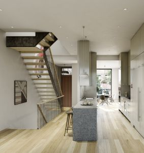 The townhouse project State + Bond feels contemporary, rather than cold, says its developer.(Photo: HPDM)