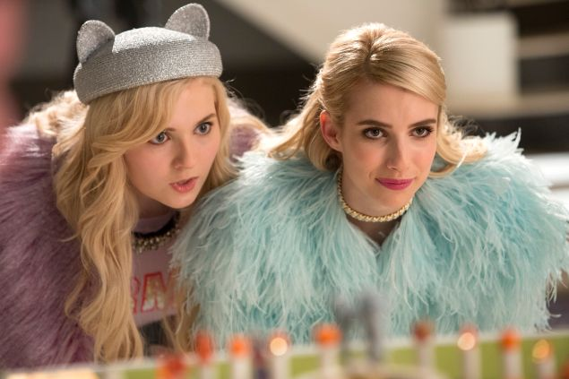 "SCREAM QUEENS: Pictured L-R: Abigail Breslin as Chanel #5 and Emma Roberts as Chanel Oberlin in the ""Pumpkin Patch"" episode of SCREAM QUEENS airing Tuesday, Oct. 13 (9:00-10:00 PM ET/PT) on FOX. ©2015 Fox Broadcasting Co. Cr: Steve Dietl/FOX."