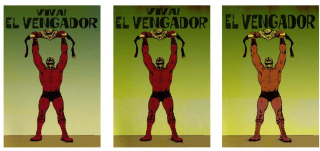 Vintage El Vengador poster, from the Gutierrezs grandfathers era.