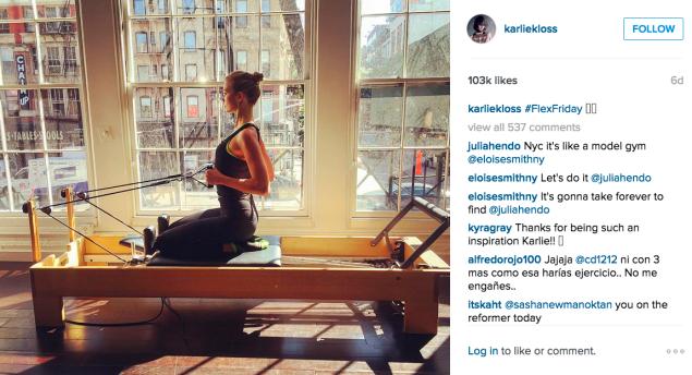 Karlie Kloss used the reformer. (Photo: Instagram/Karlie Kloss)