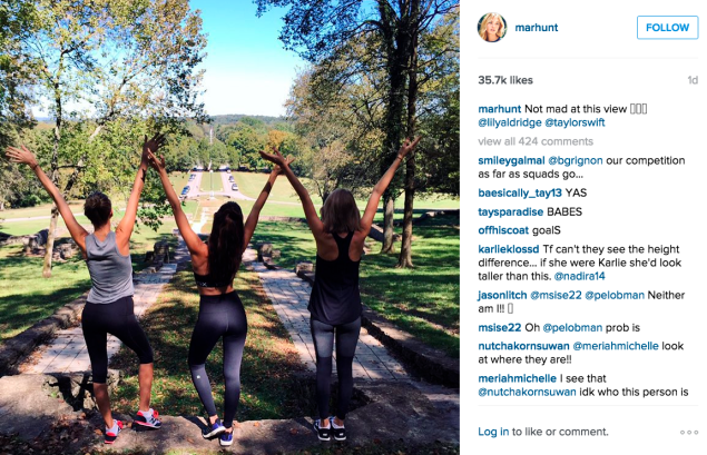The trio went for a walk in the park. (Photo: Instagram/Martha Hunt)